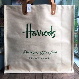 NWT Reusable Harrods Jute Shopper Bag!